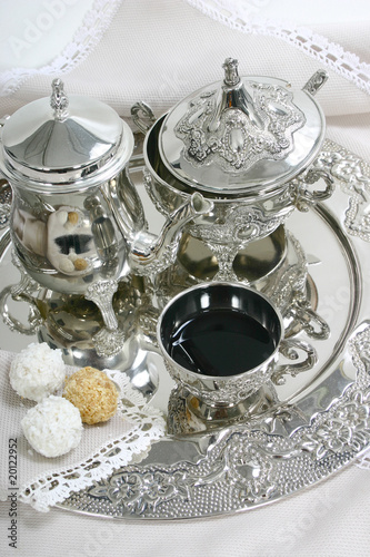 tea set and cookies