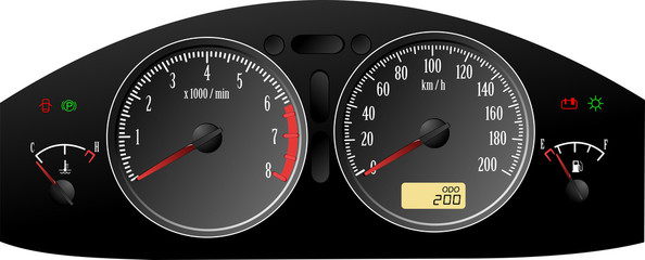 Speedometer. Accelerating Dashboard. Includes speedometer, tacho