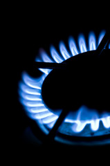 Blue gas flame on the hob