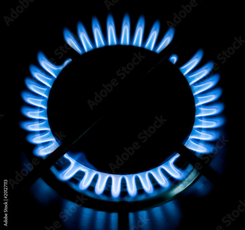 Blue gas flames burning