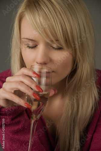 girl with the glass of champagne