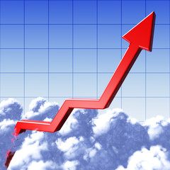 Graph of arrow in clouds grow