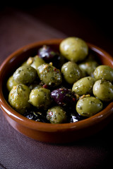 Close-up of a dish of mixed olives