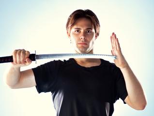 Man with samurai sword