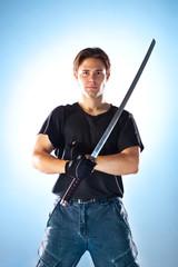Strong man with samurai sword