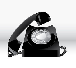 Old Black Phone Vector on white background