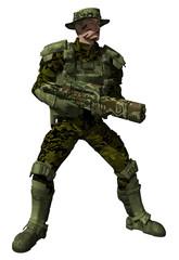 Futuristic Marine Ranger in full jungle camouflage