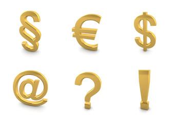 3D gold symbol set