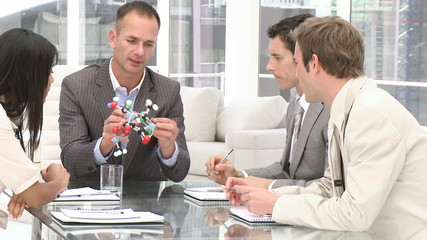 Confident manager holding a molecule in a meeting