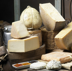 cow's milk cheeses in a typical italian