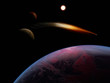 A planet is in space