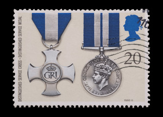 british stamp featuring Distinguished Service gallantry medals