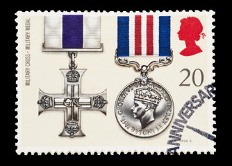 british mail stamp featuring Military gallantry medals