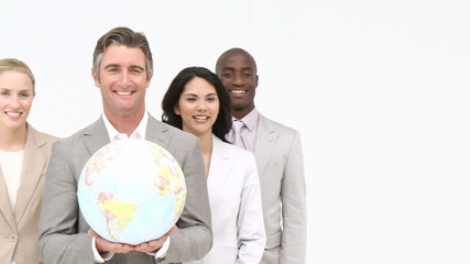 Presentation of a business team with a terrestrial globe