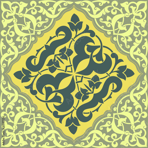 Arabesque Tile Blue and Yellow 2