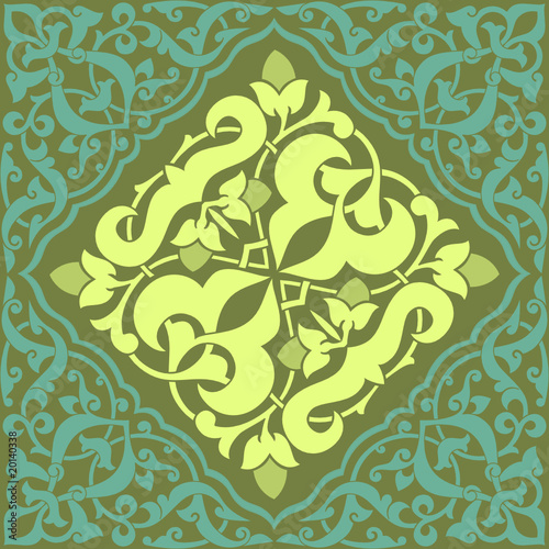 Arabesque Tile Blue and Yellow 1