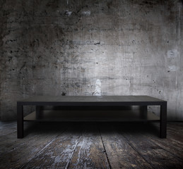 table in grunge interior