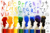 Fototapeta Tubes of paint with alphabet