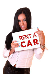 Beautiful woman holding white paper with text: Rent a car