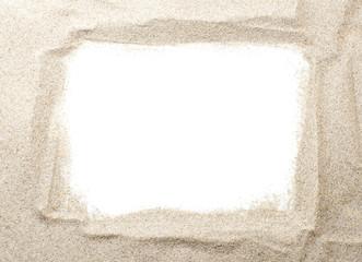 cadre blanc, bordure en sable et fond pour message ou texte