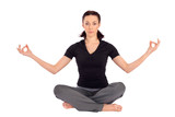 Woman doing Breath Control Yoga Pose poster