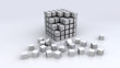 3d synthtetic chrome cubes