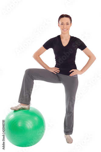 Friendly Woman Fitness with Gym Ball