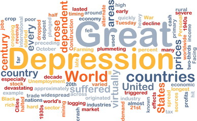 Great Depression word cloud