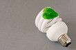 eco  lightbulb with green  leaf on grey background
