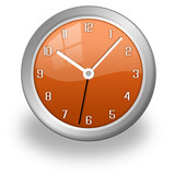 clock, stylish and modern, orange