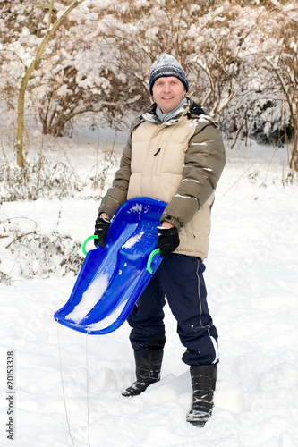 Man with sledge