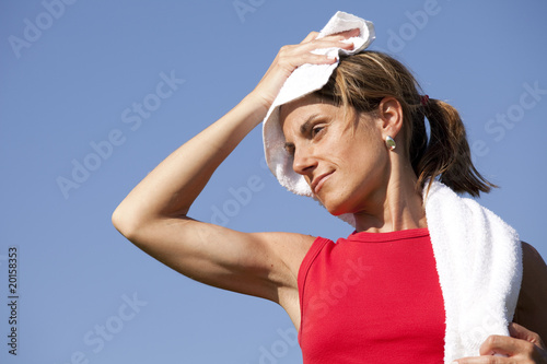 sport woman with a towel