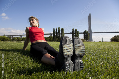 woman doing exercise outdoor