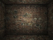 Grungy brick room interior