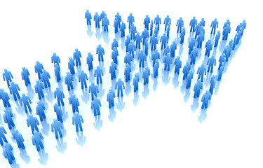 Arrow of people : business concept. 3D render.