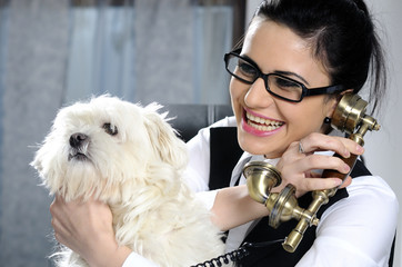 cute dog and business woman