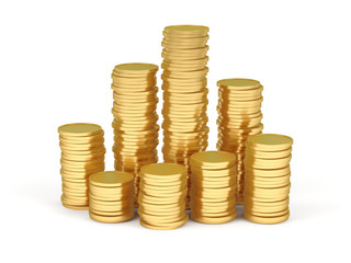 Stacks of gold coins on a white background.