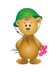 Bear cub in a helmet with a bouquet