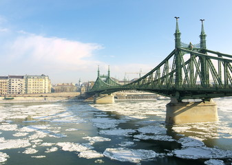 Budapest, ice drift on the Danube