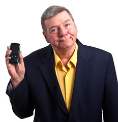Mature businessman hold cell phone, isolated