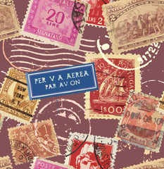 Postage Seamless Background