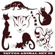templates cats for tattoo and design on different topics