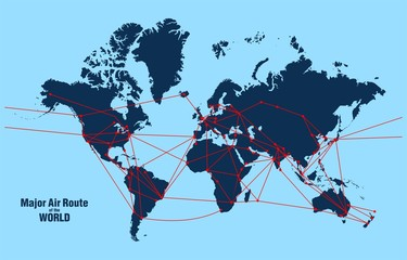 Major Air Route of the WORLD - Vector