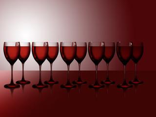 Zehn Rotweingläser