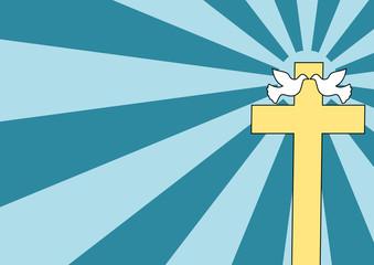A couple of doves near a Holy Cross - Cartoon style.