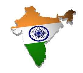 Indien Karte 3D Flagge