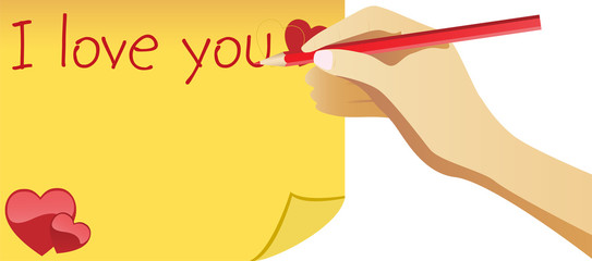 Hand writing I love you note for valentine's day.