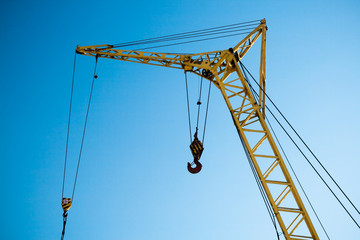 construction crane on blue sky