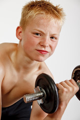 Boy working out