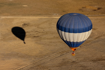 An overhead shot of a hot air balloon
